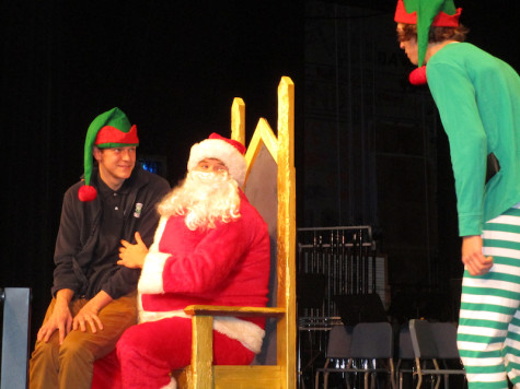 Cam Knight, Blake Olejniczak and Jacob Ziese, all seniors perform a Buddy The Elf skit with public performance.