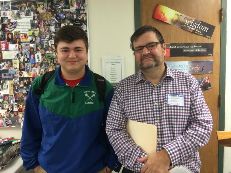 NDA student Brady Kurowski with his dad, Jeff Kurowski