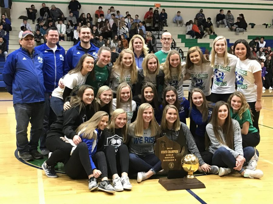 State+Soccer+Champs+Recognized+at+Basketball+Game